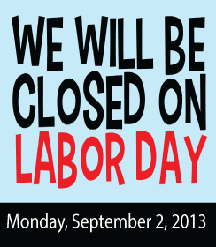Library will be closed September 2 for Labor Day