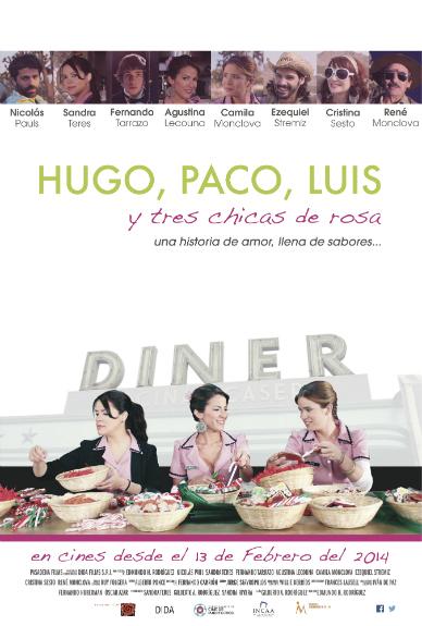 Hugo, Paco, Luis y tres chicas de rosa