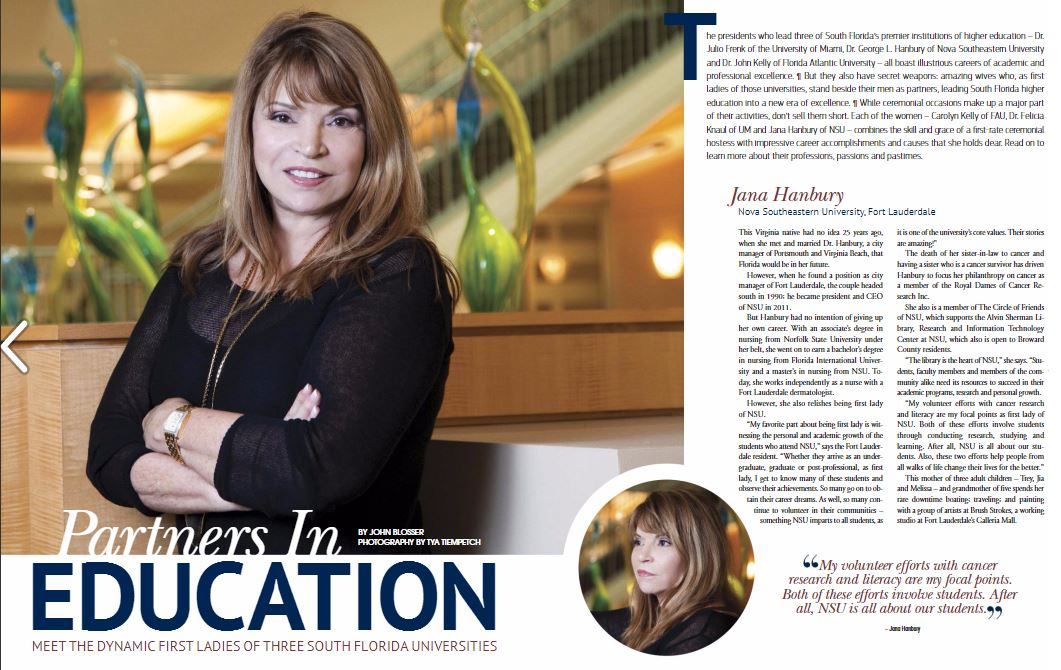 NSU's First Lady, Jana Hanbury, featured in March edition of Boca Raton Observer